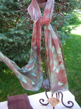 Hearts & Butterflies Shibori Silk Scarf